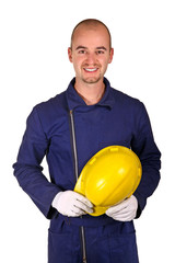young worker heavy industry background