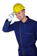 young caucasian worker heavy industry background