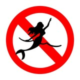A no swimming sign depicting a mermaid poster