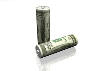 Batteries with the image of dollar on a white background
