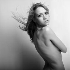 Portrait of nude elegant woman. Fashion photo