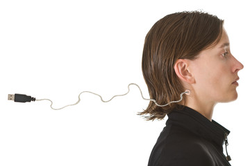 Woman with USB cable in her neck - ready to be plugged in.