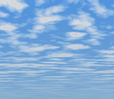 good weather -  blue sky covered with fluffy clouds poster