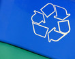 recycle arrow symbol on blue and green