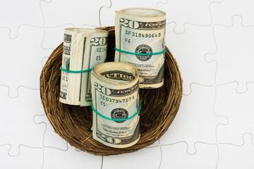 Rolls of twenty dollars bills sitting in nest on a puzzle