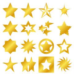 Lot d'étoiles dorées de différentes formes