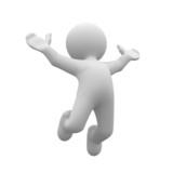 Fototapety 3d human happy jump in air