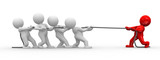 many 3d humans pull a rope to opposite directions