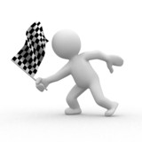 Fototapety 3d human with checkered flag at motion
