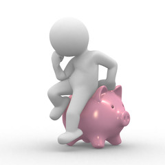 3d human with a pig bank