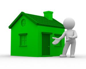 3d human show a green home