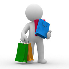 3d human carry many shopping bags