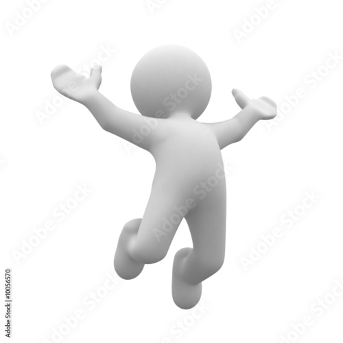 3d human happy jump in air