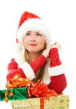 dreamy lovely girl dressed as Santa with Christmas presents poster