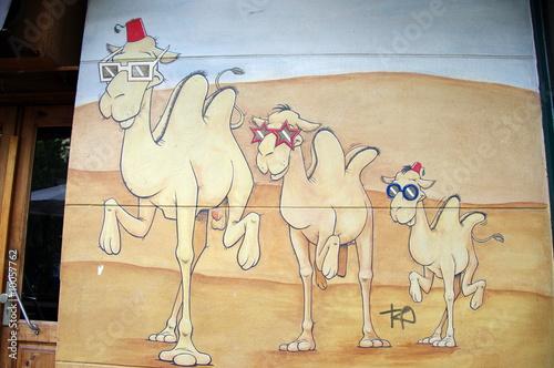 Fresque murale de chameaux dans le désert. Graffiti, Berlin.
