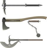 medieval weapons. Battle hammer, Axe, Bludgeon, halberd. poster