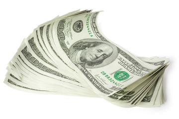 sheaf of money isolated on white