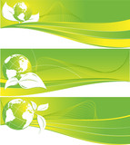 three vector header with globes for environmental company poster