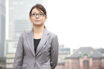 businesswoman in a town