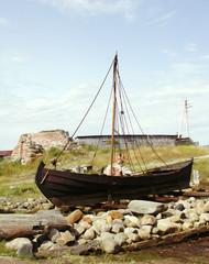 Old sailing boat ashore
