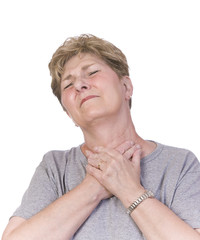 Woman suffering with a sore throat