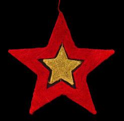 Roter Weihnachtsstern mit Gold freigestellt