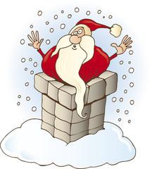 funny Santa Claus stucked in chimney