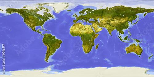 Staande foto Wereldkaart World map centered on Africa.