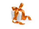 present box with orange ribbon isolated on white background