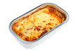 Lasagna convenience meal in a foil container