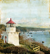 Trinidad Memorial Lighthouse on a Grunge Background.