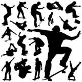 Fototapety skateboarding silhouette vector