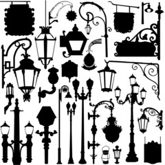 city light and sign vector set