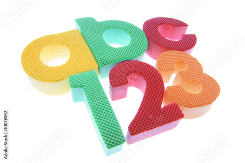 Alphabets and Numbers on Isolated White Background
