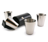 Silver cups and leather case isolated on a white back ground