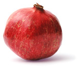 Neatly retouched pomegranate isolated on white background poster