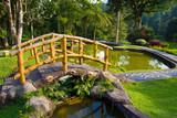 Bridge over the pool  in a botanical garden. poster