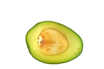half of fruit avocado on white background