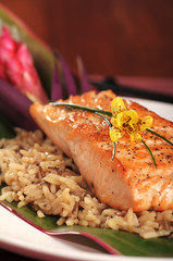 Filet of broiled salmon on rice with a Hawaiian theme