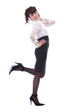 happy beauty dancing with herself on white background poster