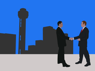 business men meeting with handshake and Dallas skyline