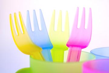 colorful beach picnic utensils for children