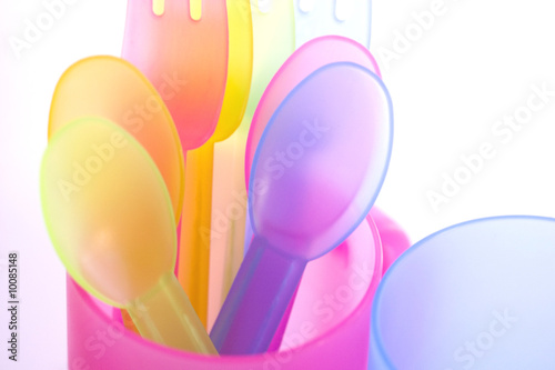 children's picnic spoons and cups for picnic on the beach