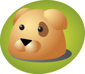 Cute cartoon illustration of a dog head
