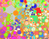 Retro abstract psychedelic multicolored circle pattern design poster