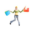A happy caucasian girl jumping and carrying shopping bags