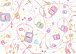 roleta: Seamless Pattern made of cool hand-drawn mp3 players