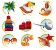 canvas print picture Holiday objects, vector illustration