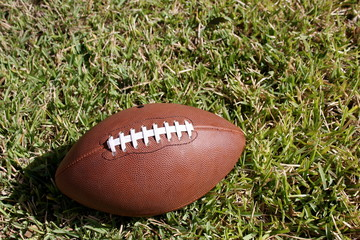American football on grass with room for copy