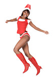 sexy  african american mother claus girl with red boots